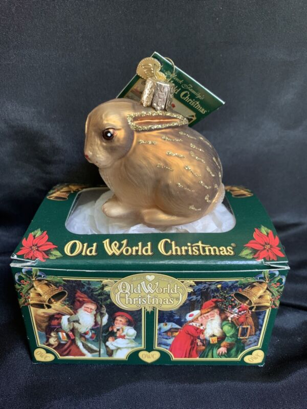 New Brown Bunny Rabbit Cottontail Glass Ornaments By OLD WORLD CHRIS With Box