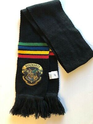 CultureFly Harry Potter  Hogwarts House Scarf Black Multi Colored EUC  Hogwarts House Colors