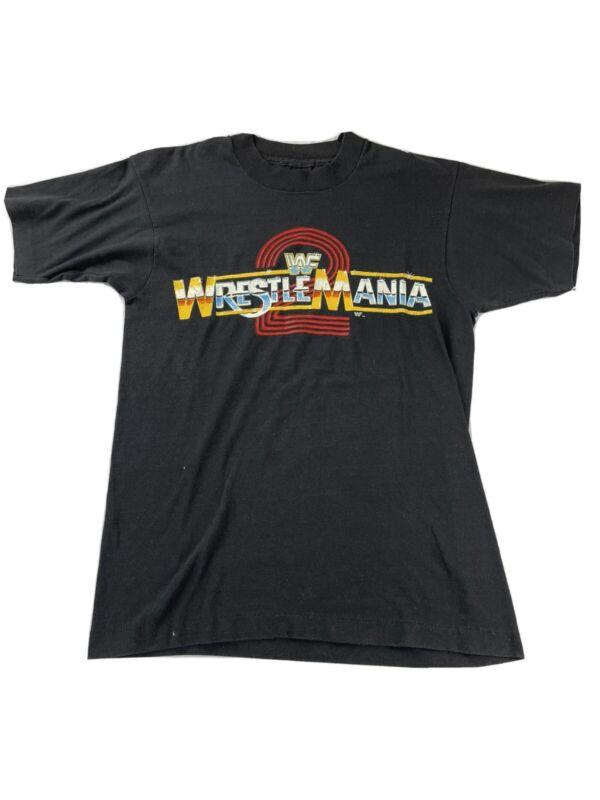 VINTAGE 1986 WWF WRESTLEMANIA 2 T-SHIRT SIZE M SCREEN STARS NOS WWE WCW