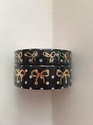 Simply Gilded Black and White Polka Dot Bows 10/15mm Washi