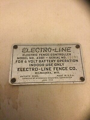 Vintage Electro-line Electric Fence Controller Metal Plate