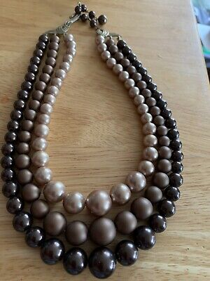 1950s Jewelry Styles and History 1950,s Three Strand Pearl Brown Tones Necklace  $9.00 AT vintagedancer.com