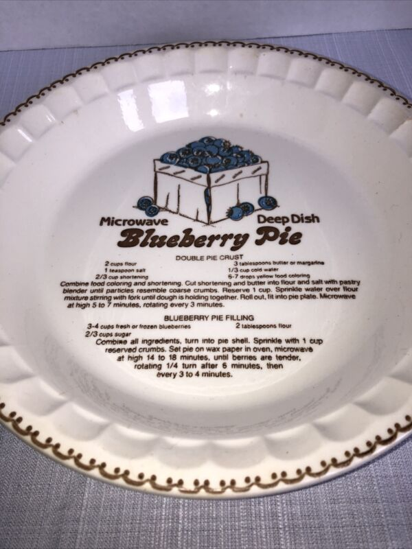 """Royal China - Country Harvest - Blueberry Recipe Pie Dish - 11"""" X 1 1/2"""""""