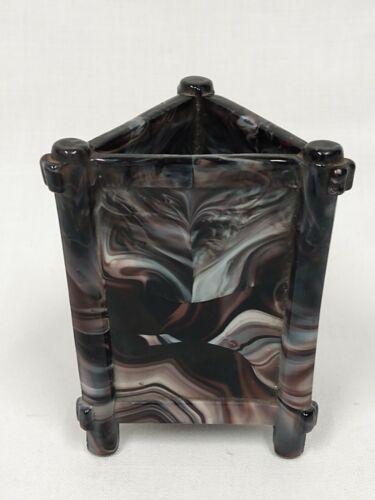 Old PURPLE SLAG Malachite Art Glass Sowerby Davidson Triangle 3 Side Spill VASE