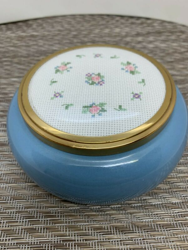 Vtg. Framecraft Lovely Small Gray Glass Trinket With an Embroidered Lid England
