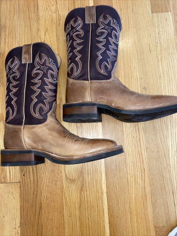 New Justin Q-Crepe American Tan Cowhide boots Mens 8 D