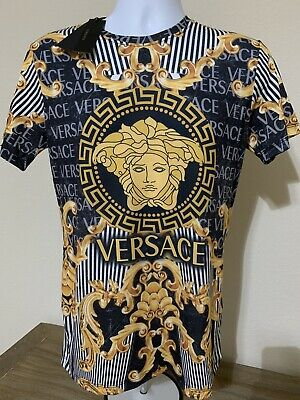 Luxury Mens Versace T-Shirt, Gold Medusa, M Size EU ( S Size US), Slim Fit
