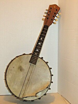 Vintage 1920's 8 String Oscar Schmidt Melody Banjo USA - Mother of Pearl Inlay