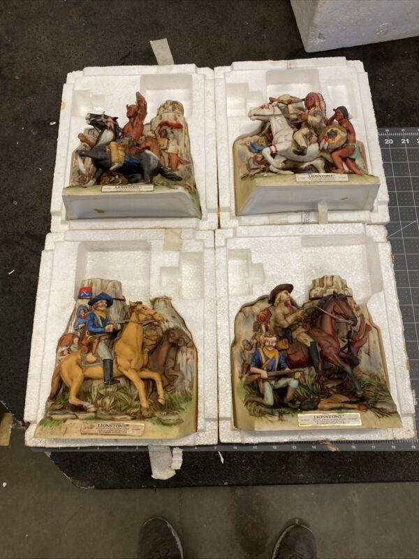 ORIGINAL LIONSTONE WHISKEY DECANTER  CUSTER 4 Pce Set (dec13