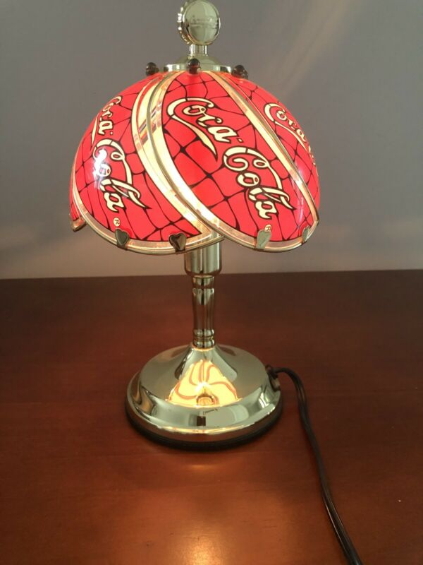 """Coca-Cola (R) Brand Portable Table Lamp Collectible Glass Gilded Height 12"""" 1999"""
