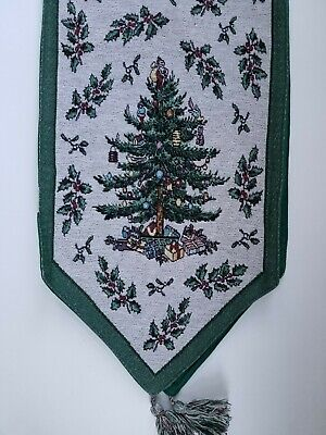 "Spode Christmas Tree Tapestry Table Linens Cloth Runner 13"" x 67"" with Tassels"