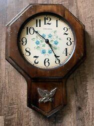 Vintage Wood Verichron Quartz Wall Clock - with eagle - Harris & Mallow