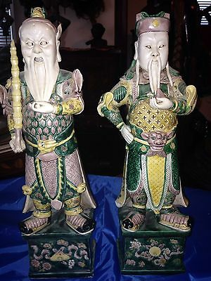 Rare exquisite antique 19th C Chinese glazed ceramic Immortal Figures