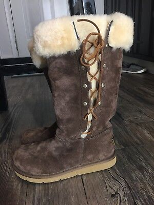 UGG Upside Sheepskin Fur Lined, Lace Up, Brown Boots Women's SZ 6, used for sale  Dayton