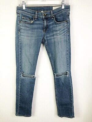 Rag & Bone Tomboy Blue Ripped Knees Jean Size 26