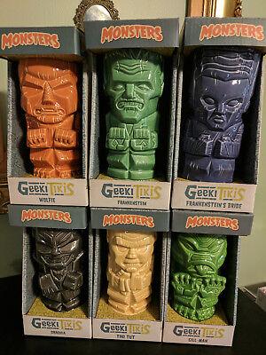 Geeki Tiki Monsters lot of six tiki mugs Dracula Frankenstein Bride Gill Man Tut