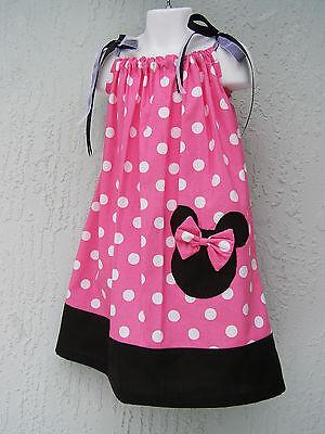 Girl Pillowcase Dress Minnie Head Applique Size 1T 2T 3T Polka Dots Handmade