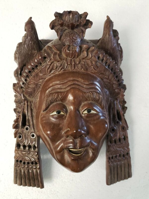 ANTIQUE 19C CHINESE ROSEWOOD HAND CARVED MASK TIBETAN EMPRESS