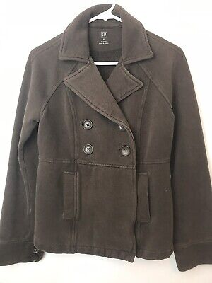 GAP Womens Button Front Dark Brown Sweater Sweatshirt Pea Coat Jacket Size Small (Dark Brown Pea Coat)