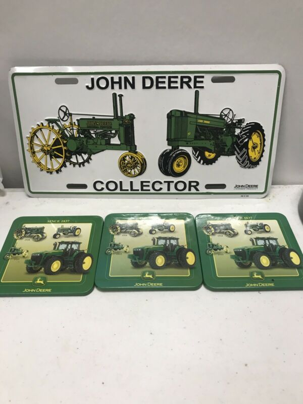 """John Deere Collector 12"""" x 6"""" Embossed Metal License Plate New With 3 Coasters"""