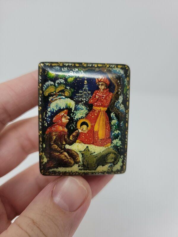 Vintage Miniature Handpainted Russian Lacquer Box