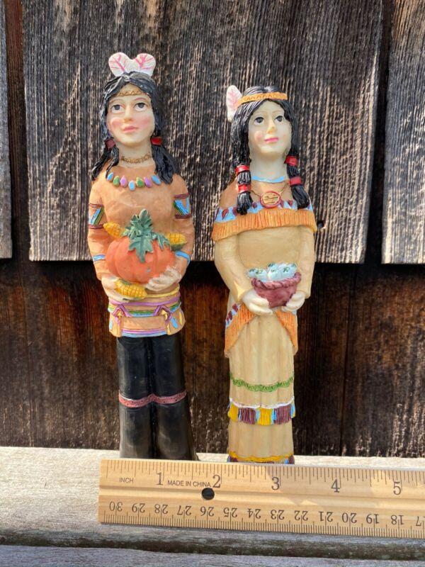 Native American Couple Fall Harvest Autumn Thanksgiving Ceramic Figurines