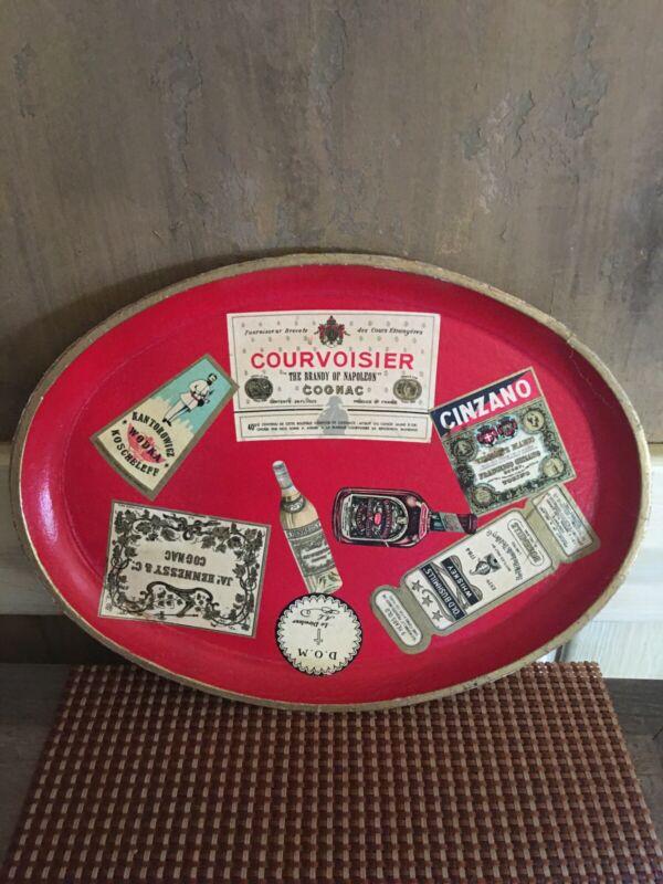 1950s Vintage Barware Tray Liquor Labels Paper Mache