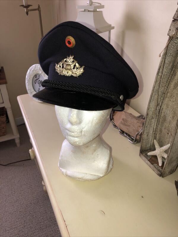 Vintage West German Fireman Bundeswehr Albert Kempf Alkero Visor Cap Firefighter