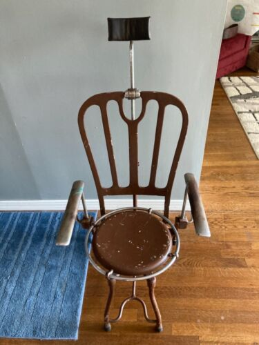 Antique cast iron/steel adjustable  dental chair,1900s