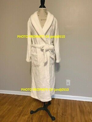 $75 Victorias Secret WHITE IVORY ECRU Long Cozy SOFT Plush Wrap Robe M/L XS/S