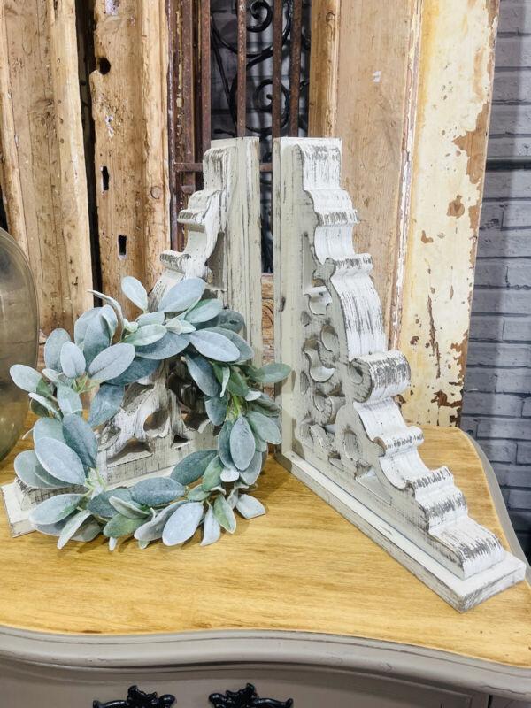 Chunky White Wooden Corbels, Set, Farmhouse