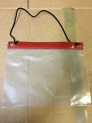 A4 Map case red close with neck strap