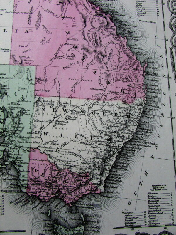 Australia NSW interior details 1864 scarce Colton map variant version