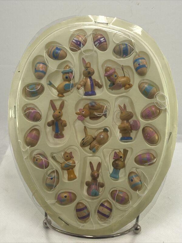 Vintage Wood Easter Ornaments Set Of 30 New In Package AF