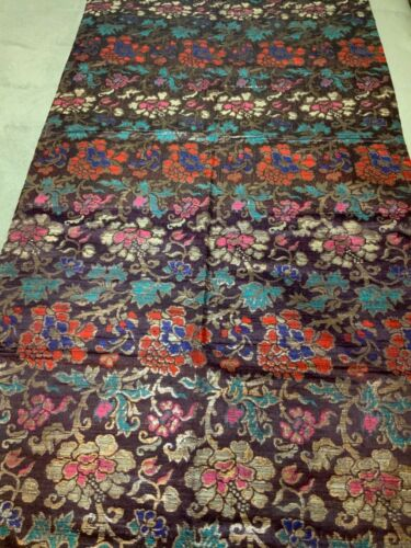 ANTIQUE 19/ 20th c QI'ING CHINESE BROCADE SILK PANEL EMBROIDERED 181 x 72 cm #5