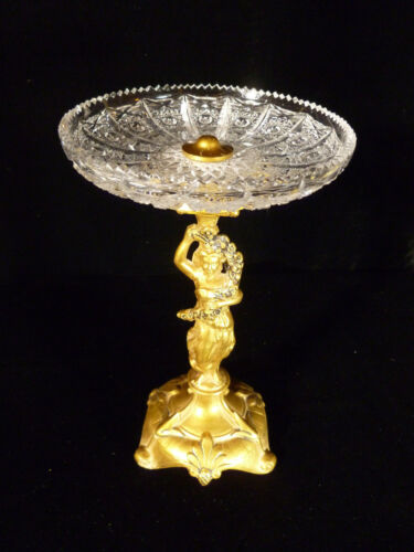 GILT FIGURAL CENTERPIECE COMPOTE WITH STUNNING CUT CRYSTAL BOWL - CIRCA 1900