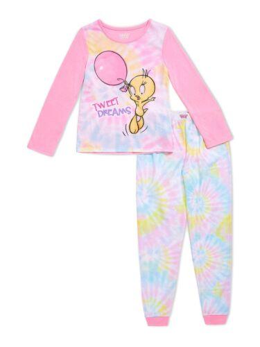 NWT Girls Looney Tunes Tweety Bird Pajamas Shirt Pant Set 6 6X 10 12 S L Tie Dye
