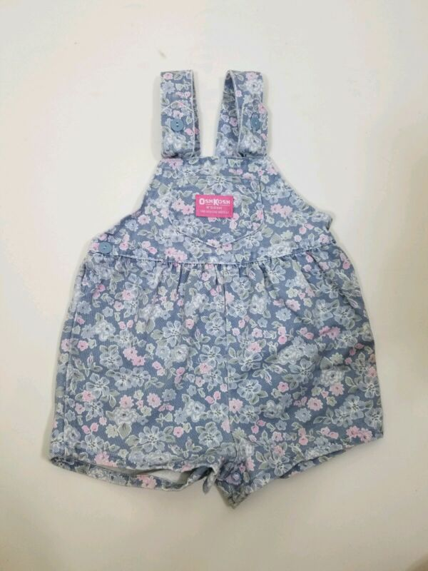 Vintage Oshkosh Floral Romper Overall Shorts 3T Blue USA