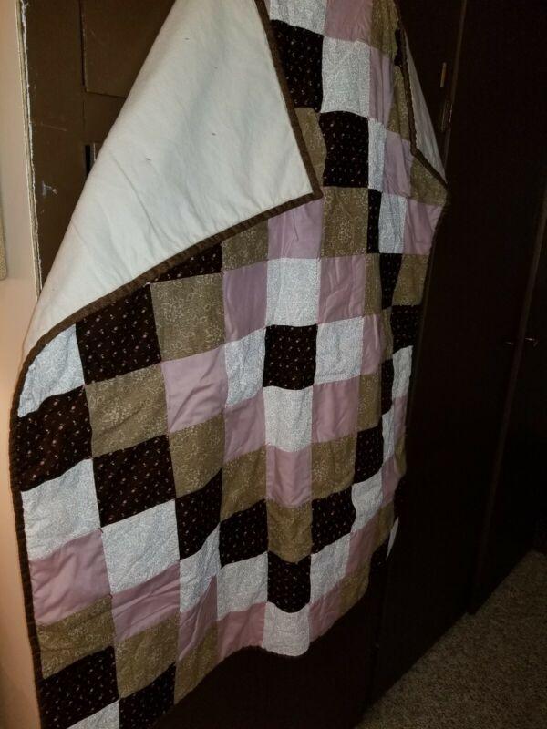 """New Handmade Girls Baby Quilt 46 1/2"""" x 36"""""""