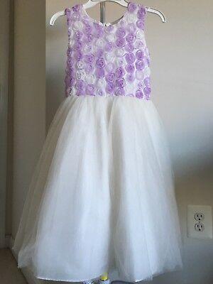 Girl's White And Purple Sleeveless Flower Girl Dress. Size 6](White And Purple Flower Girl Dresses)