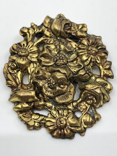 Antique VIctorian Repousse Gold Tone Daisies and Roses Flower Scarf Dress Clip