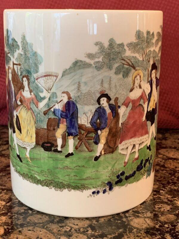 Rorstrand Large Beer Stein Mug Tankard Handpainted Victorian Dancers