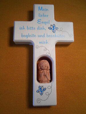 Kinderkreuz m.Schutzengel Taufkreuz Taufe Geburt Holzkreuz für Junge Kommunion