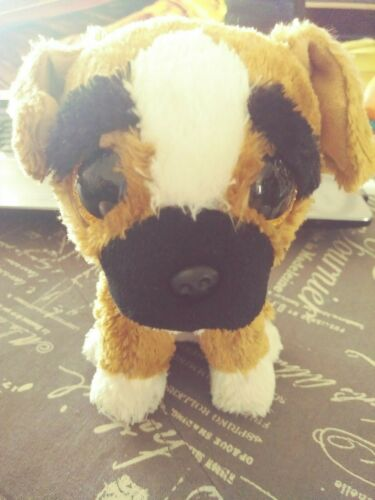 2014 Ty Beanie Boos BRUTUS the Boxer Stuffed Plush Toy w/ Tush Tag (No ear tag)