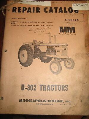 Minneapolis Moline U302 U-302 Tractor Parts Manual Book Catalog
