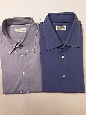 2 Luigi Borrelli, Napoli Luxury Dress Shirts Light & Baby Blue 18 36/37 XXL 2XL