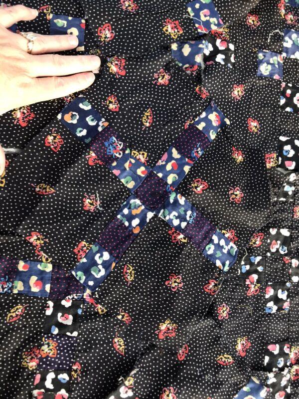 """25 VTG Quilt Blocks Antique Cotton Feedsack Black Floral 10"""" Polka Dot Lot"""