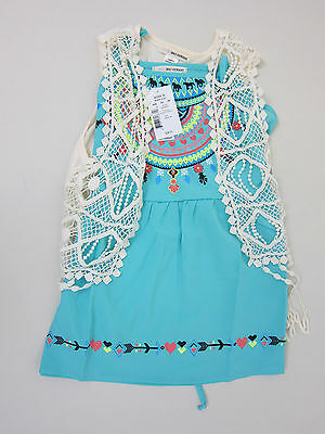 Kohls Self Esteem Embroidered Tank Top and Crochet Cover Up - Girls Medium - NWT