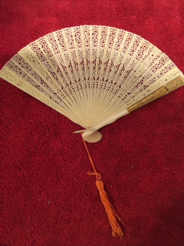 Vintage Off White Asian Chinese Plastic Fan Pearlized and GoldTassel HONG KONG