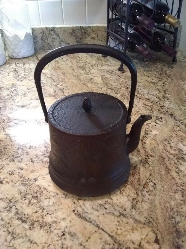 Antique Japanese Cast Iron Teapot Signed Tetsubin
